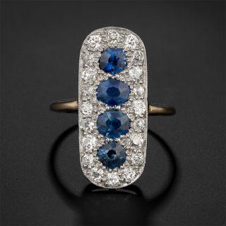 Edwardian Sapphire and Diamond Elongated Ring - 2
