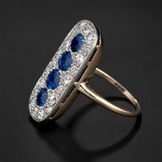 Edwardian Sapphire and Diamond Elongated Ring