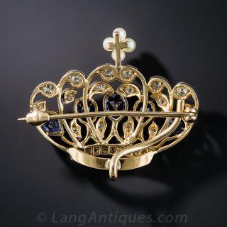 Edwardian Sapphire, Diamond and Pearl Crown Brooch