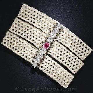 Edwardian Seed Pearl Bracelet with Ruby and Diamond Clasp - 1