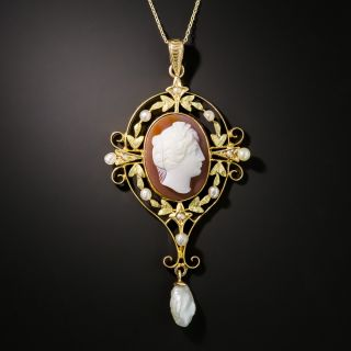 Edwardian Shell Cameo and Pearl Pendant - 2