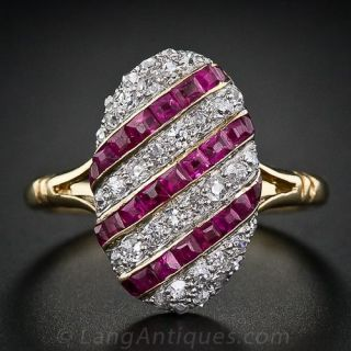 Edwardian Striped Ruby and Diamond Ring - 1