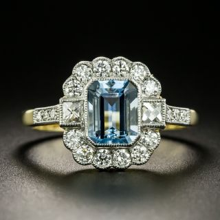 Edwardian Style 1.16 Carat Aquamarine and Diamond Ring - 2