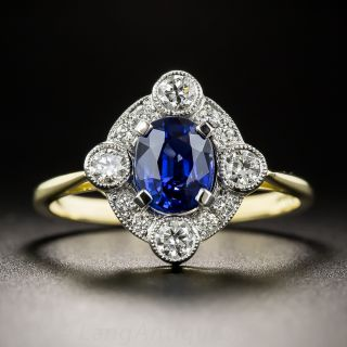 Edwardian Style 1.31 Carat Sapphire and Diamond Ring - 2