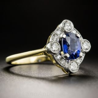 Edwardian Style 1.31 Carat Sapphire and Diamond Ring