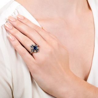 Edwardian Style 1.50 Carat No-Heat Sapphire and Diamond Ring