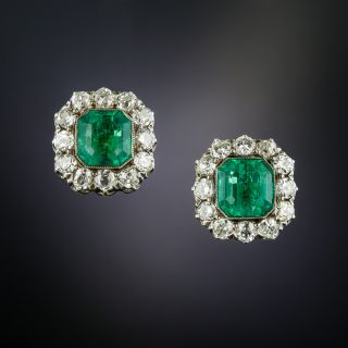 Edwardian Style 1.94 Carat Emerald and Diamond Earrings - 4