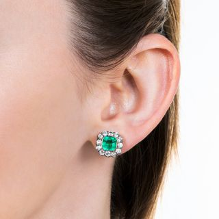 Edwardian Style 1.94 Carat Emerald and Diamond Earrings