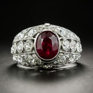 Edwardian Style 2.07 Carat Ruby and Diamond Ring - 1