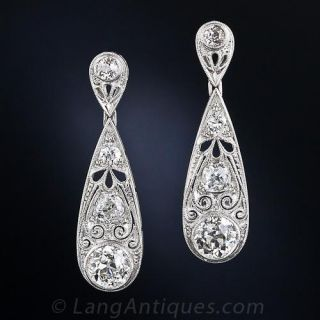 Edwardian Style 3.35 Carat Total Diamond Drop Earrings - 1