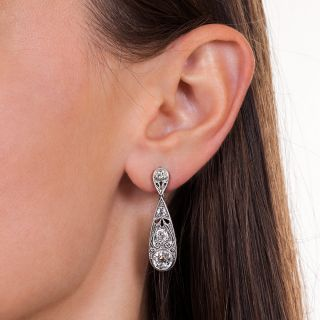 Edwardian Style 3.35 Carat Total Diamond Drop Earrings