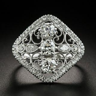 Edwardian Style Diamond Scroll Motif Dinner Ring - 2