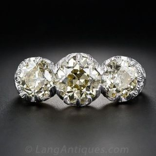 Edwardian Style Fancy Yellow Three-Stone Diamond Ring - GIA - 1