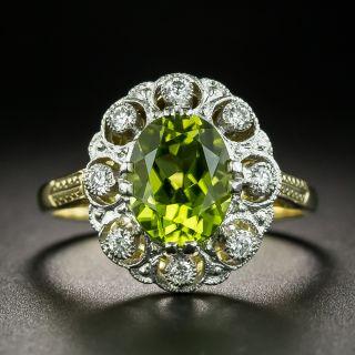Edwardian Style Peridot and Diamond Cluster Ring - 2