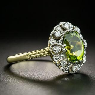 Edwardian Style Peridot and Diamond Cluster Ring