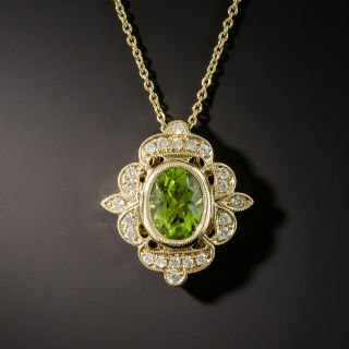 Edwardian Style Peridot and Diamond Pendant - 1