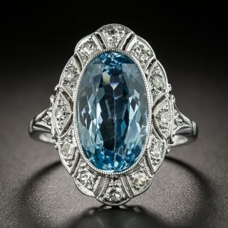 Edwardian Style Platinum Aquamarine Ring - 2