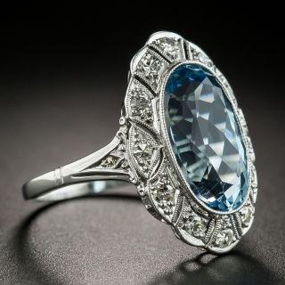 Edwardian Style Platinum Aquamarine Ring