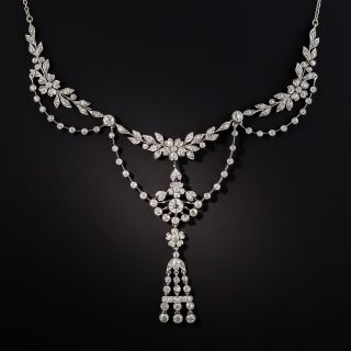 Edwardian Style Platinum Diamond Garland Necklace - 2