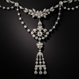 Edwardian Style Platinum Diamond Garland Necklace
