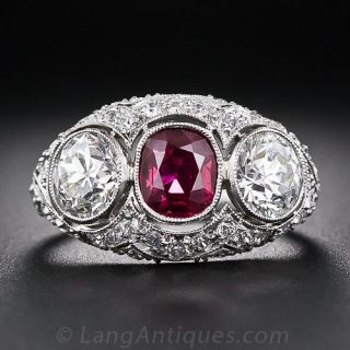 Edwardian Style Platinum Ruby and Diamond Ring - 1