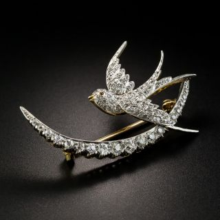 Edwardian Swallow and Crescent Pin - 4