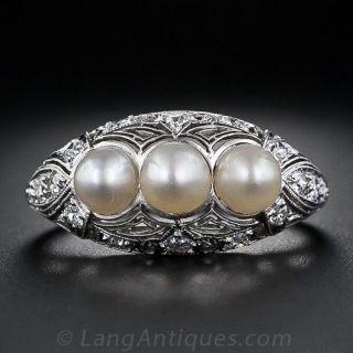 Edwardian Three-Pearl Ring - 1