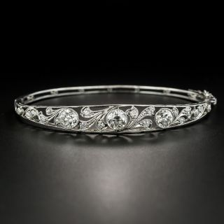 Edwardian Three-Stone Diamond Bangle Bracelet - 2