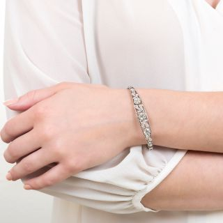 Edwardian Three-Stone Diamond Bangle Bracelet