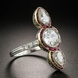 Edwardian Three-Stone Diamond Ring with Calibre Rubies