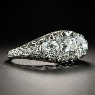 Edwardian Three-Stone Platinum Diamond Ring