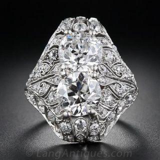 Edwardian Twin-Stone Diamond Dinner Ring - 1