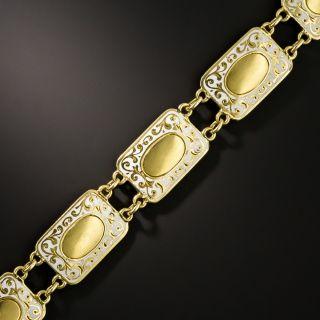 Edwardian White Enamel and  Gold Plaque Bracelet - 3