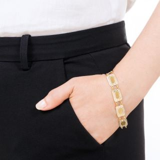 Edwardian White Enamel and  Gold Plaque Bracelet