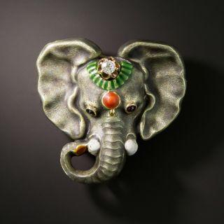 Elephant Brooch with Diamond - 2