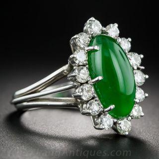Elongated Oval Jadite and Diamond Ring