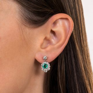 Emerald and Diamond Cluster Drop Earrings