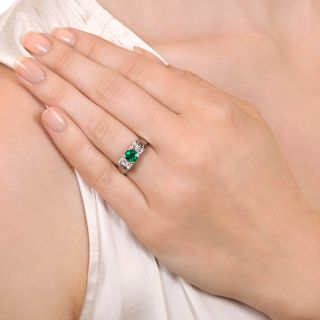 Estate .78 Carat Emerald and Diamond Ring