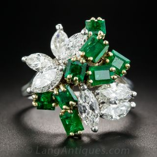 Emerald and Marquise Diamond Cocktail Ring - 2