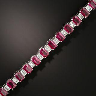 Emerald-Cut Burmese Ruby and Baguette Diamond Line Bracelet - GIA - 2
