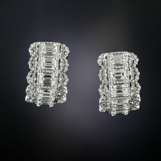 Emerald-Cut Diamond Hoop Earrings - 1