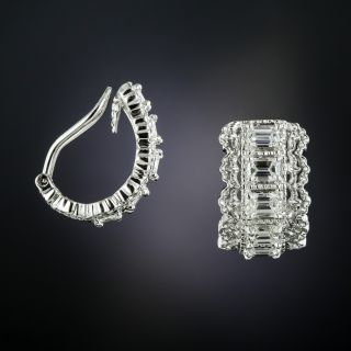 Emerald-Cut Diamond Hoop Earrings