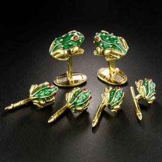 Enamel Frog Motif Cufflinks and Stud Set - 2
