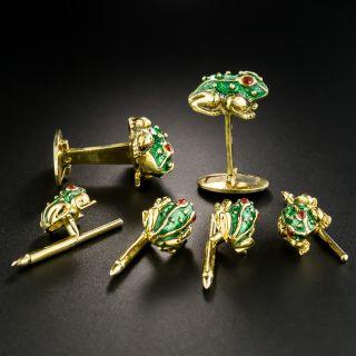 Enamel Frog Motif Cufflinks and Stud Set