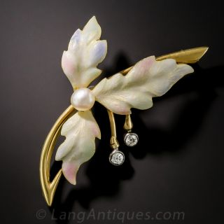 Enamel Three-Leaf Brooch with Pearl Diamonds