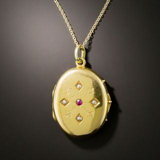 English 15K Locket with Ruby and Seed Pearls - 3