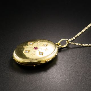 English 15K Locket with Ruby and Seed Pearls