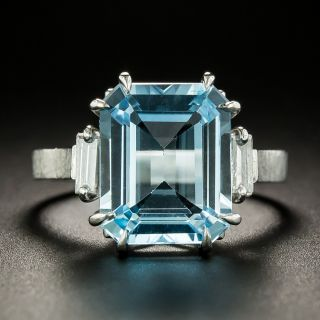 English 5.75 Carat Blue Topaz and Diamond Ring - 3