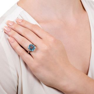 English 5.75 Carat Blue Topaz and Diamond Ring