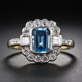 English Aquamarine and Diamond Ring - 1